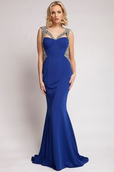 Mermaid Sleeveless Beaded V-Neck Floor-Length Jersey Prom Dress With Backless Style And Sweep Train