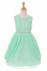 Tea-Length High Neck Pleated Tiered Chiffon Flower Girl Dress With Ribbon