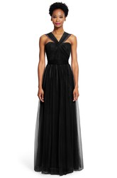 Sheath Ruched Strapless Tulle Bridesmaid Dress