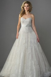 Sweetheart Ballgown With Crystal Waistband And Bow Tie Detail