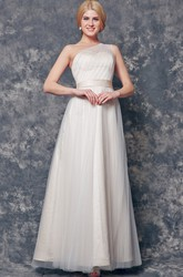 Dreaming One Shoulder Ruched and Pleated Long Tulle Dress