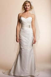 Trumpet Floor-Length Sweetheart Satin Wedding Dress With Criss Cross And Bow