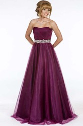 A-Line Strapless Sleeveless Maxi Ruched Tulle Prom Dress With Lace-Up Back And Waist Jewellery