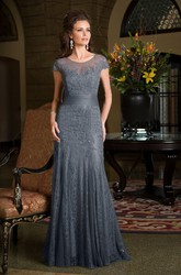 Cap-Sleeved Long Mermaid Mother Of The Bride Dress With Pleats And Appliques