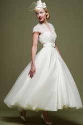 Ankle-Length A-Line Ribboned V-Neck Cap Sleeve Tulle Wedding Dress