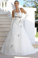A-Line Long-Sleeveless Halter Satin&Tulle Wedding Dress With Appliques