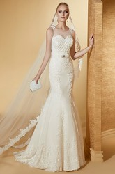 Chic Jewel-Neck Cap Sleeve Mermaid Lace Gown With Illusive Neckline And Brush Train