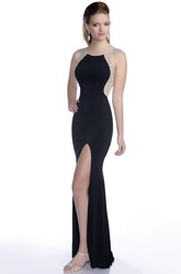 Elegant Front Slit Mermaid Jersey Prom Dress With Crystal Appliques