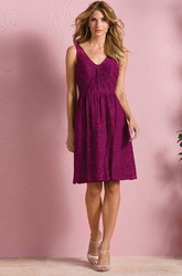 Sleeveless V-Neck A-Line Knee-Length Lace Bridesmaid Dress With V-Back