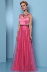 A-Line Scoop-Neck Sleeveless Long Beaded Tulle&Satin Prom Dress With Waist Jewellery