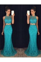 Delicate Mermaid Lace 2018 Prom Dress Two Piece