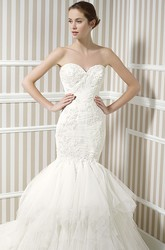 Trumpet Long Sweetheart Criss-Cross Sleeveless Tulle Wedding Dress With Cascading Ruffles And Appliques