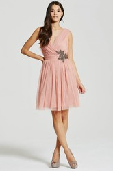 Mini A-Line Criss-Cross V-Neck Sleeveless Tulle Bridesmaid Dress With Appliques