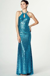 High Neck Sleeveless Sequin Prom Dress With Keyhole