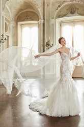 Trumpet Long Appliqued Sweetheart Tulle&Lace Wedding Dress With Cascading Ruffles And Court Train