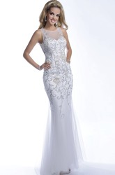 Tulle Trumpet Sequined Sleeveless Prom Dress With Illusion Back