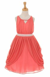 High Neck Tea-Length Pleated Tiered Chiffon Flower Girl Dress With Ribbon