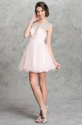 A-Line Short Scoop-Neck Cap-Sleeve Tulle Keyhole Dress With Beading And Criss Cross