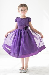 Tea-Length Floral Tiered Lace&Organza Flower Girl Dress With Sash