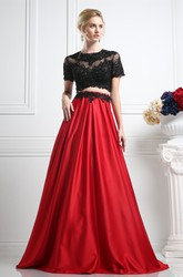 Two-Piece A-Line Maxi Jewel-Neck Short Sleeve Satin Illusion Dress With Appliques