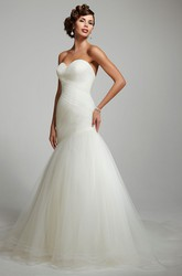 Mermaid Sweetheart Tulle Wedding Dress With Criss Cross And Backless Design