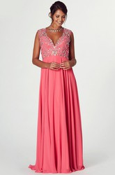 V-Neck Crystal Cap Sleeve Chiffon Prom Dress With Keyhole