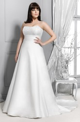 Strapless Satin A-Line Gown With Lace And Sweep Train