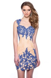 Lace Short Form-Fitted Sweetheart Homecoming Dress With Keyhole Back