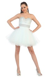 A-Line Short Sweetheart Sleeveless Tulle Backless Dress With Ruffles And Beading