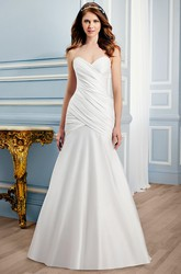 Long Sweetheart Satin Wedding Dress With Criss Cross And V Back
