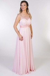 A-Line Floor-Length Scoop Cap-Sleeve Appliqued Chiffon Prom Dress With Keyhole Back And Pleats