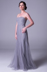 Sheath Strapless Sleeveless Ruched Long Tulle Bridesmaid Dress