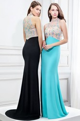Sleeveless High Neck Beaded Jersey Prom Dress With Brush Train