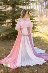 A-Line Sweep Brush Train Long Sleeve Empire Maternity Dress