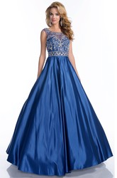 Beaded Bodice Scoop Neck Low-V Back A-Line Satin Prom Dress