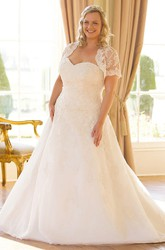 Sweetheart Short-Sleeve Lace Plus Size Wedding Dress With Illusion