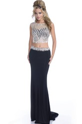 Crop Top Sheath Jersey Scalloped-Edge Neck Prom Dress With Shining Bodice
