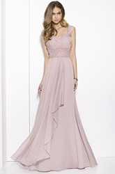 A-Line Ruched Floor-Length Queen-Anne Chiffon Prom Dress With Draping And Waist Jewellery