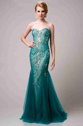Sequin-Covered Strapless Mermaid Tulle Prom Dress With Sweetheart Neckline