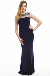Sheath Beaded Sleeveless Floor-Length Bateau-Neck Jersey Prom Dress