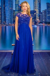 A-Line Floor-Length Scoop-Neck Cap-Sleeve Beaded Chiffon Prom Dress