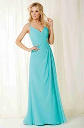 Floor-Length Spaghetti Broach Ruched Chiffon Bridesmaid Dress With Draping And Lace Up