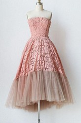 Strapless A-line Knee-Length Lace Tulle Dress