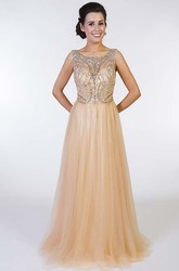 A-Line Scoop-Neck Sleeveless Floor-Length Beaded Tulle Prom Dress