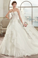 Sweetheart A-Line Bridal Gown With Lace Corset And Asymmetrical Ruffles