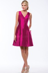 V-Neck A-Line Satin Bridesmaid Dress With Keyhole Back And Pockets