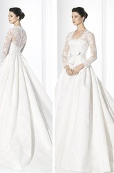 Ball Gown Square-Neck Floor-Length Long-Sleeve Lace Wedding Dress With Bow And Illusion