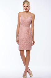 Sleeveless Short Lace Sheath Bridesmaid Dress With Spaghetti Straps