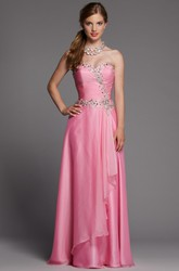A-Line Long Sweetheart Sleeveless Satin Dress With Beading And Criss Cross