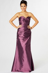 Sweetheart Floor-Length Criss-Cross Taffeta Bridesmaid Dress With Lace Up